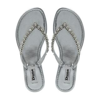 DUNE LADIES KIKI - Diamante Toe Post Flat Sandal - silver | Dune Shoes Online