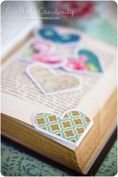 heart shaped corner bookmarks
