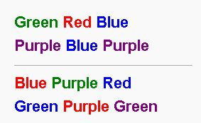 A wonderful example of how unconscious biases (implicit associations) work.  In any case, it turns out the phenomenon has a name — the Stroop effect — and the best illustration of it I've ever seen was featured on BoingBoing. It involves colors and color names. For a lifetime, we've been taught to associate certain colors with certain names. Accordingly, our brain fires faster and more confidently when we see the name in the color, compared to when we see the name in an opposing color.