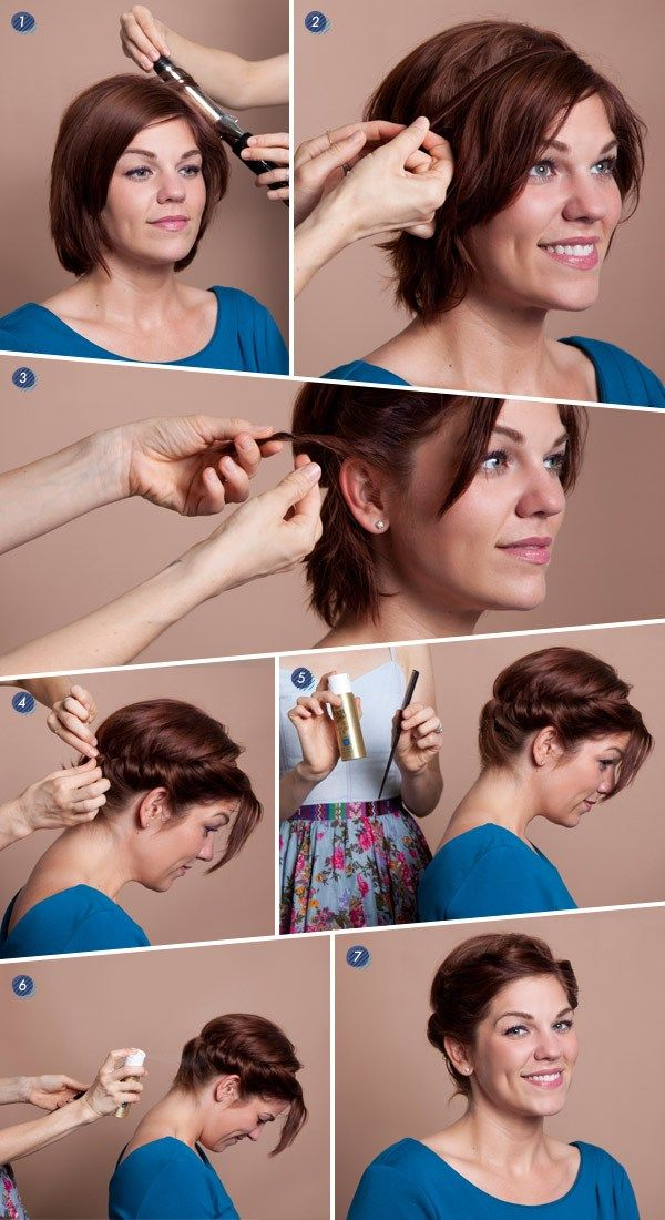 1. Using your curling iron, curl all over, being sure to direct the curls away from your face. Spritz with hairspray.  2. Determine the placement of your headband and slip it over the crown of your head, pin into place.  3. Starting from the front section, begin twisting and tucking sections of hair up and over the headband, it should start resembling a crown.  4. Continue twisting and tucking, being sure to fill in any gaps.  5. If you have very short hair in the back, use your comb to hold