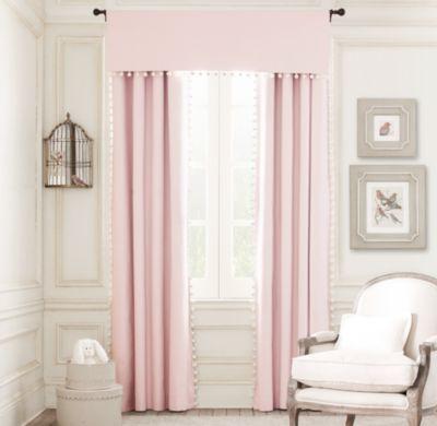 RH Baby & Child :  pom-pom linen-cotton drapery panel