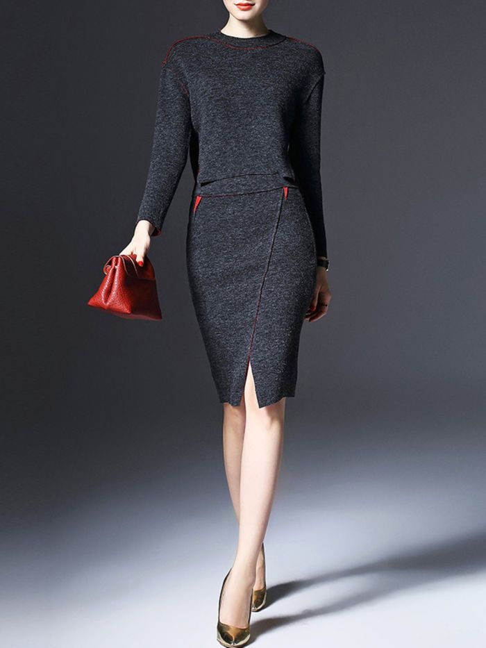 Wool Blend Sweater and Slit Mini Skirt