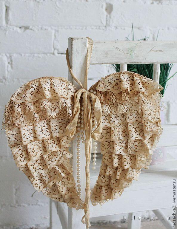 Крылья Ангела - бежевый,крылья,ангел,шебби-шик,винтажный стиль,декор для интерьера