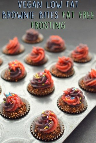 Vegan Low Fat Brownie Bites with Fat Free Frosting - 4 Vegan Low Fat Recipes (Starch Solution / HCLF) - Rich Bitch Cooking Blog