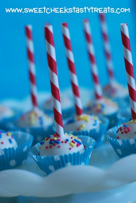 Sweet Cheeks Tasty Treats: carnival cake pops with paper straws.