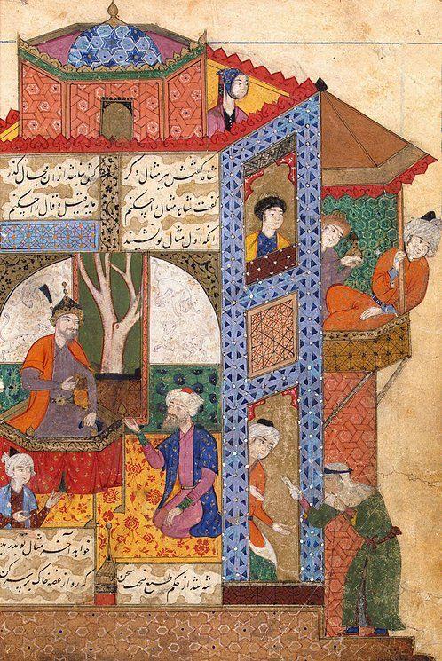Sultan-Mahmud-Gaznevi-and-a-Suppliant-Old-Woman.jpg (498×745) Miniatures, Gouache, 21x14 cm Origin: Iran, 1587 Album: Manuscript 'Silsilat Al-Dhahhab' by Jami Source of entry: 1945 School: Qazvin-Mashkhad Theme: Literature