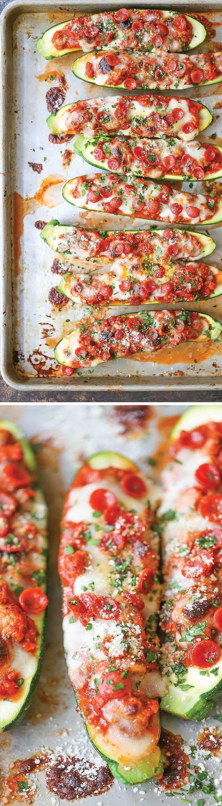 Pizza Stuffed Zucchini Boats. All the flavors of pizza neatly packed in healthy, nutritious zucchini boats! It's cheesy comfort without any of the guilt!