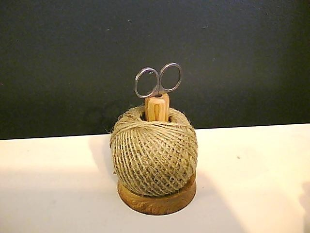 String and scissors holder.  Hand turned.