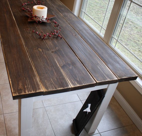 flashsale 7 ft reclaimed primitive distressed dark walnut stained country white farmhouse farm kitchen table custom sizes colors home cabin - Primitive Kitchen Tables