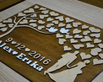 3D bruiloft gast boek alternatief bruiloft boom hout door Wedding3D
