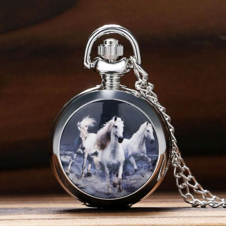 Necklace Pocket Watch Pendant With Horse Design