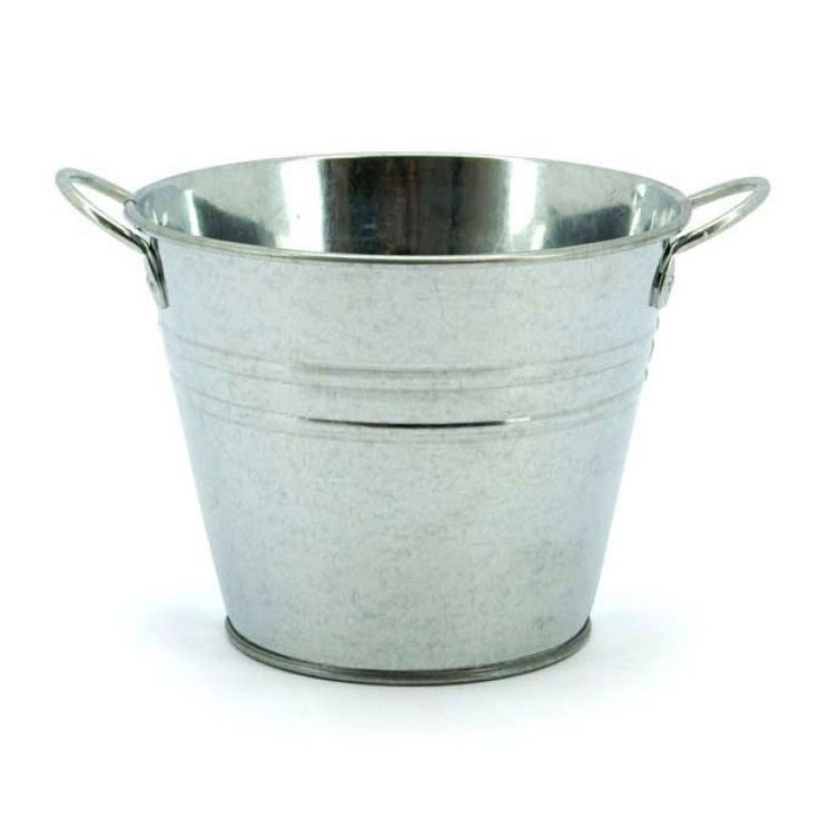 Medium Round Tin With Ear Handles 15tdx10bdx12Hcm | Oceans FloralTinware is very versatile, whether you want troughs for hampers or corporate gifts, or buckets and tall tins for flowers; our v-shape tins with ear handles are great for displaying flowers plus our plastic pots and vases pop inside nicely for a water tight option. Our smaller tins work great for gifts, posies, wedding favours, children's parties and baby showers.