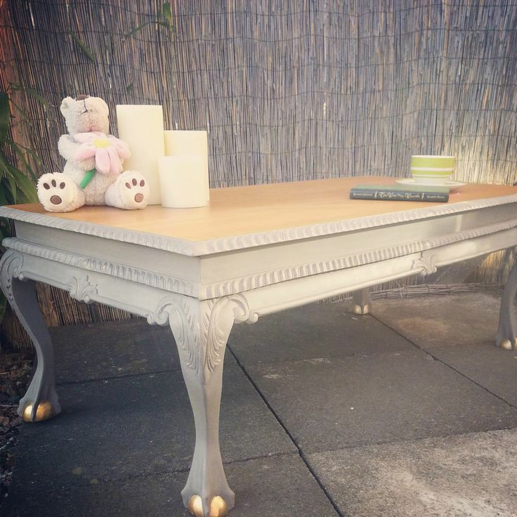Gold Shabby Chic Coffee Table: Large Ornate, Carved French Rococo, Shabby Chic Coffee