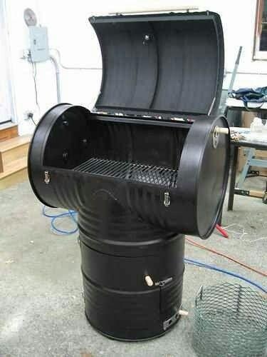 Asador con tambo de 200 lt reciclado