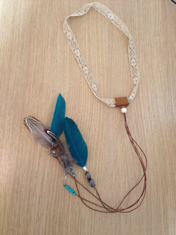Bohemian Headband lace beads and feathers turquoise brown