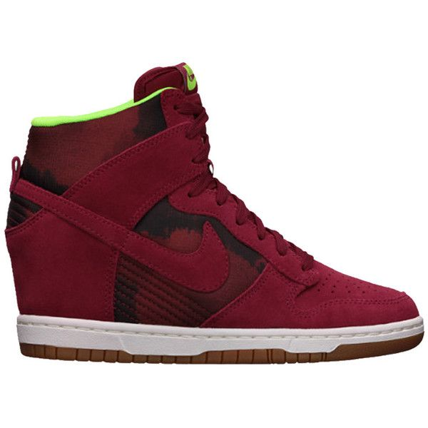 Nike WMNS Dunk Sky Hi ($63) ❤ liked on Polyvore featuring shoes, sneakers, 44. wrestling shoes., shoe club, women, metallic sneakers, hidden wedge shoes, red trainers, lightweight sneakers and grip trainer