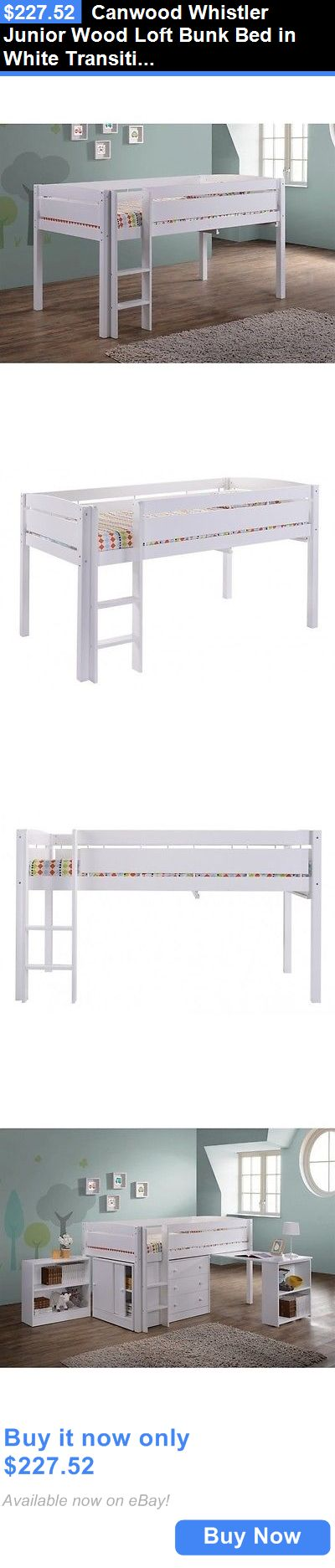 Kids Furniture: Canwood Whistler Junior Wood Loft Bunk Bed In White Transitional Kids BUY IT NOW ONLY: $227.52