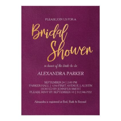 Purple Gold Calligraphy Bridal Shower Card - calligraphy gifts custom personalize diy create your own