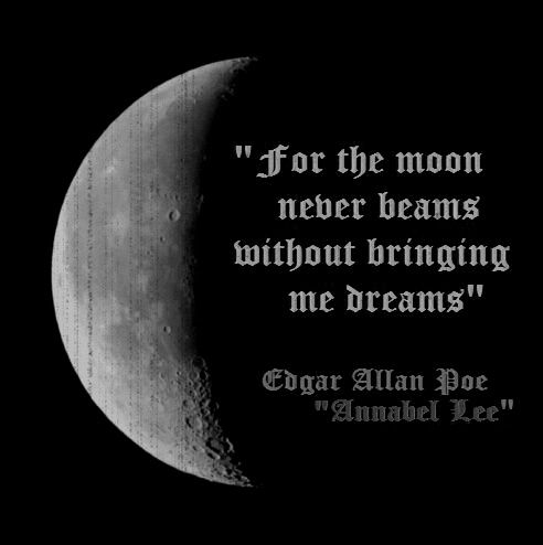 For the moon never beams without bringing me dreams.....Poe