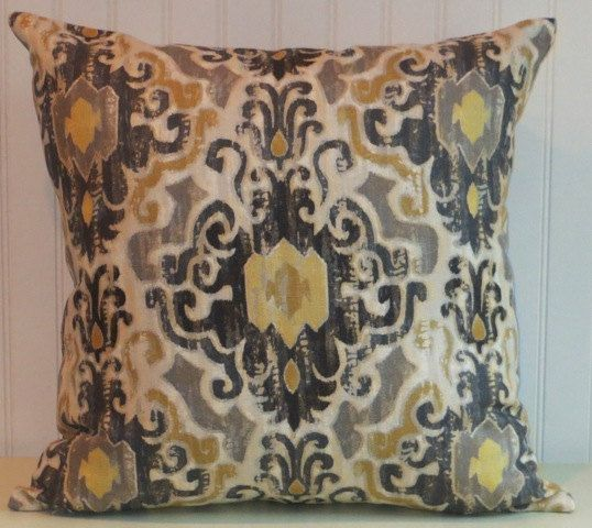 Yellow And Black Decorative Pillows : Grey Black Ikat Pillow Cover-Designer Accent Pillow-- Duralee Black, Yellow, Gold, Grey, Cream ...