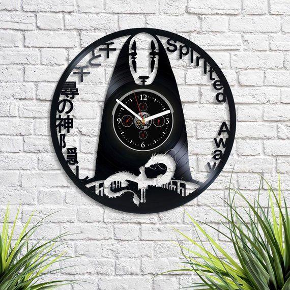 Spirited Away Anime Cartoon Retro Lp Vinyl Record Wall Clock Vintage Wall Clock Large Spirited Away New Year Gift For Vintage Wall Clock Clock Large Wall Clock