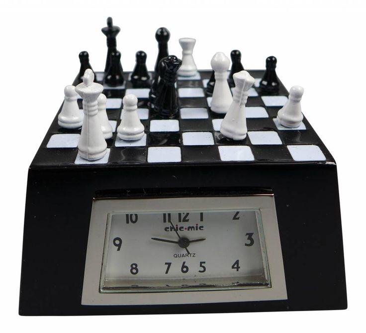 ChicMic Miniatur Uhr - Schach, Schachbrett, Schachspiel ca 6x6 x3,5 cm - Sammleruhr mit hochwertiger Geschenkbox