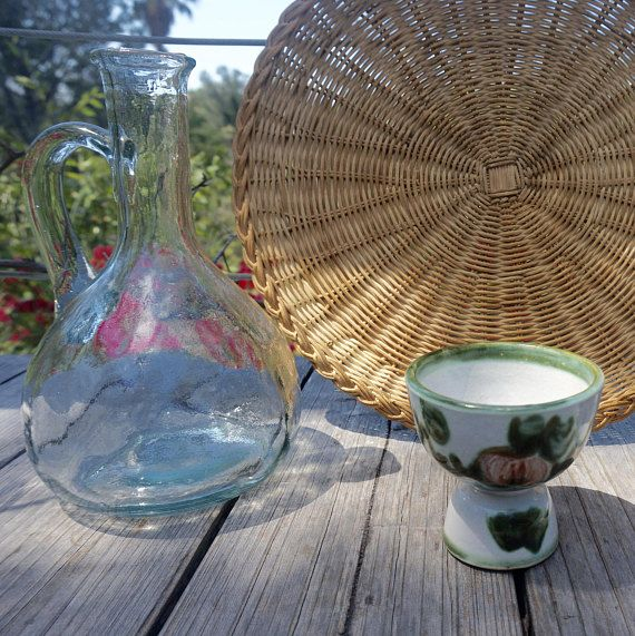Glass carafe with handle // Vintage carafe // Water carafe //
