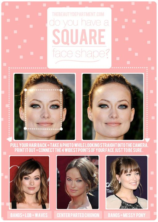 "Square face - TOP KNOT- If you want to wear a top knot either just go for it and let that jawline shine or try pairing it with a ""Bardot Bang"" (which you ..."