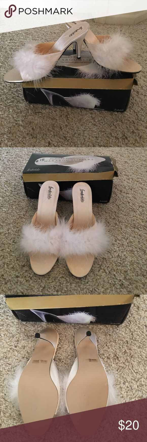 Frederick of Hollywood marabou slipper. Sexy! Fredericks of Hollywood glamour girl mayor of those slippers. In excellent condition like new.  In absolutely perfect condition Frederick's of Hollywood Shoes Heels