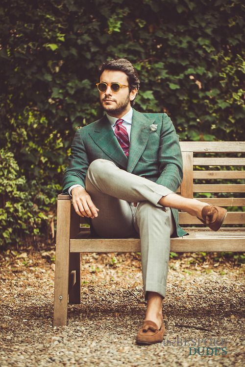 Double breasted suit with round sunglasses outfit