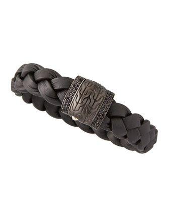 Men's Black Bronze Braided Leather Bracelet, Black ~ JOHN HARDY.
