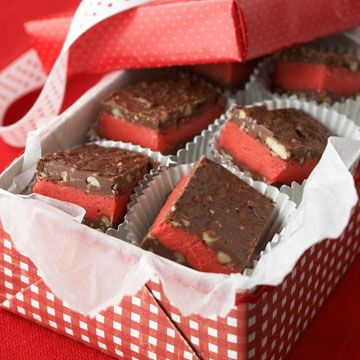 Bing Candy: People in Pukwana, South Dakota, come to bake sales just to buy Gwen Swanson's signature chocolate-cherry treat. Cherry-flavor chips create a red center between the chocolate layers. You can substitute peanut butter-flavor pieces if you prefer a peanut butter-chocolate combo.