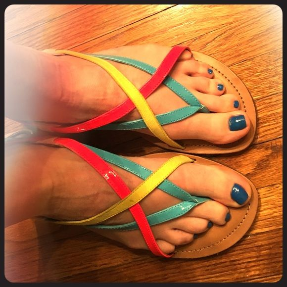Jessica Simpson Strapy Sandals Neon strap Jessica Simpson sandals. These are the perfect pop of color for any outfit. Extremely comfortable. These have only been worn once. Looking for a new home that will put more miles on them! Jessica Simpson Shoes Sandals