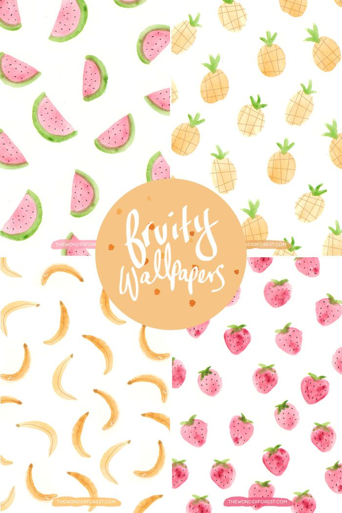 Free Pineapple, Banana, Watermelon, and Strawberry wallpapers for your device and desktop!
