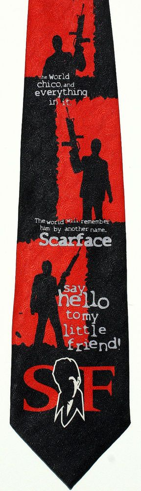 New Scarface Tony Montana Mens Necktie Al Pacino Film Movie Black Neck Tie #UniversalStudios #NeckTie