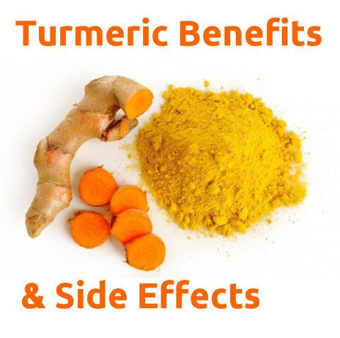 Turmeric Health Benefits and Side Effects Turmeric (root) – Curcuma longa (Zingiberaceae) Turmeric contains curcumin, the pigment providing its bright yellow/orange color and antioxidant power. A natural pain killer, turmeric detoxifies the liver, treats arthritis, reduces nervous tension and fights depression. Turmeric is also used for psoriasis, boosts metabolic function and reduces body fat. Turmeric is used to treat leukemia, multiple sclerosis, melanoma and Alzheimer's disease.