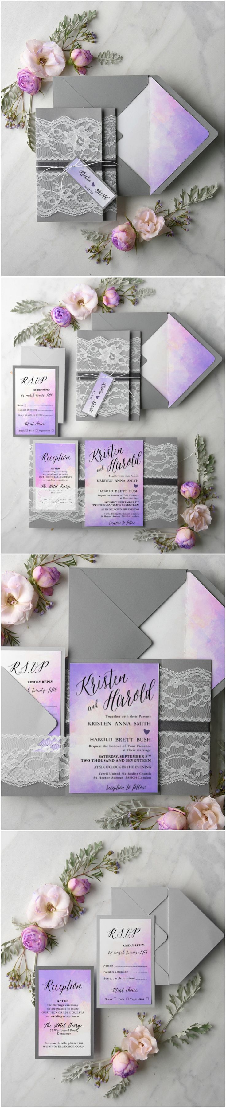 wedding invitation wording with no reception%0A Ombre Watercolor Wedding Invitations with lace  ombre  watercolor   weddingideas  weddingtrends  grey