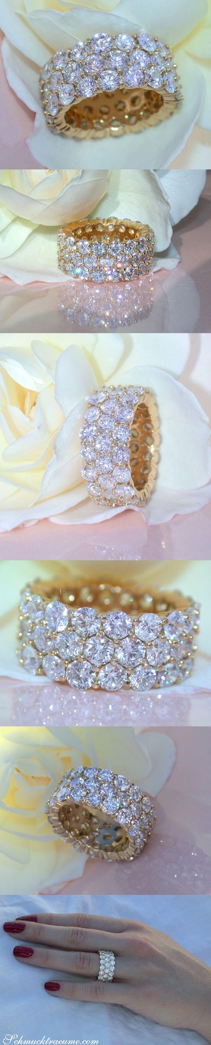 Luxury: Splendid Diamond Eternity Ring - 10.60 ct. G VS - Yellowgold 18k | schmucktraeume.com | Facebook: https://www.facebook.com/Noble-Juwelen-150871984924926/