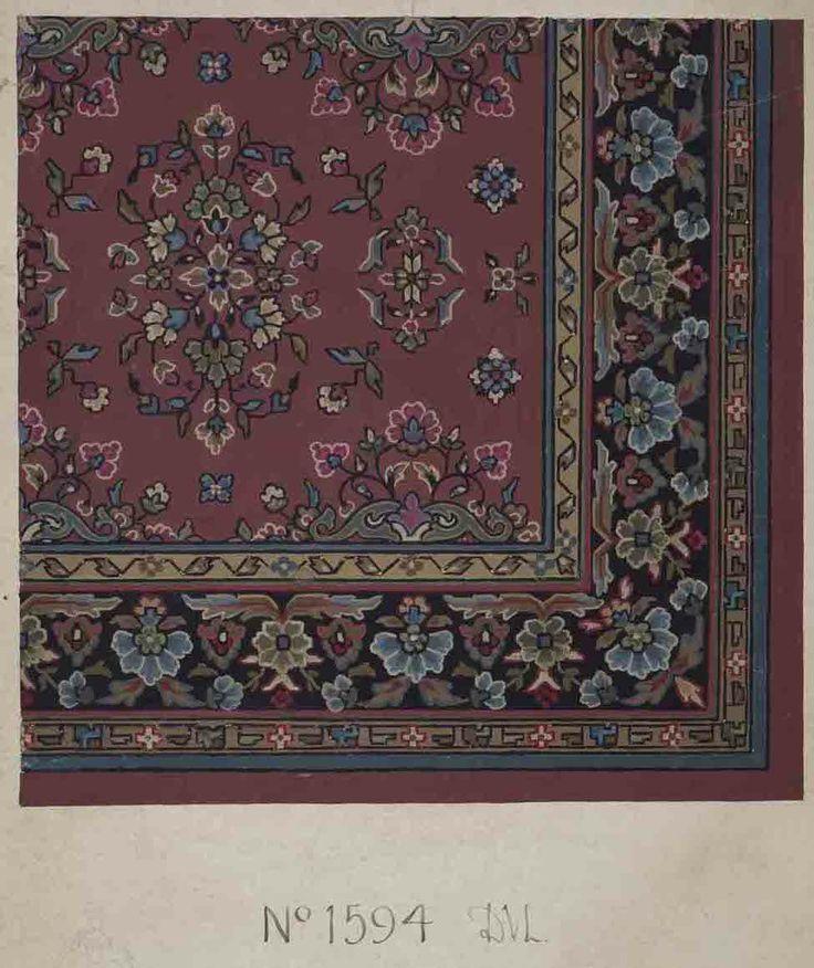 Stoddard-Templeton Design: Assorted Persian and Bordered Squares (STOD/DES/111/41) Design sketch: Untitled design (1880-1975)_ https://www.flickr.com/photos/uofglibrary/7179649873/in/set-72157625472336767