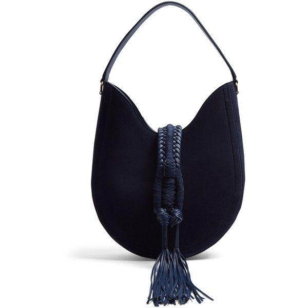 Altuzarra Ghianda small suede shoulder bag (539.430 HUF) ❤ liked on Polyvore featuring bags, handbags, shoulder bags, navy, purse shoulder bag, man bag, navy shoulder bag, blue handbags and blue shoulder bag