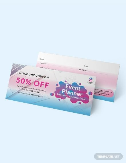 hand out these fun and cool coupons to your clients with this event planner coupons template