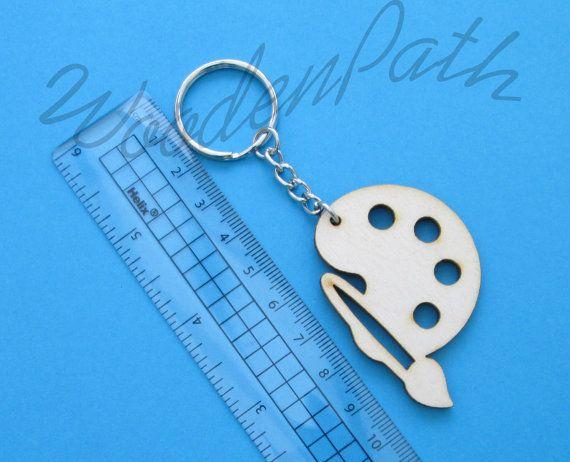 Decoupage Plain wooden keyring key chain key fob  by WoodenPath