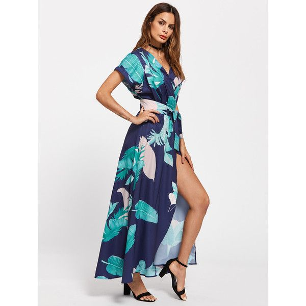 Tropical Print Dolman Sleeve Surplice Dress ❤ liked on Polyvore featuring dresses, tropical pattern dress, tropical print dress, surplice dress, cross over dress and dolman sleeve dress