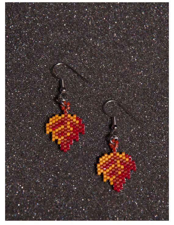 Fall+Leaf+Earrings+by+HandMadeBeadedCrafts+on+Etsy,+$6.00