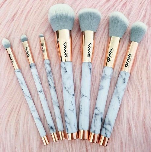 marble makeup brushes shared by Mint Wish on We Heart It