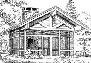 screened in shelter with fireplace--site includes plans for this and other structures