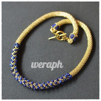 Beaded crochet rope with lapis lazuli beads.
