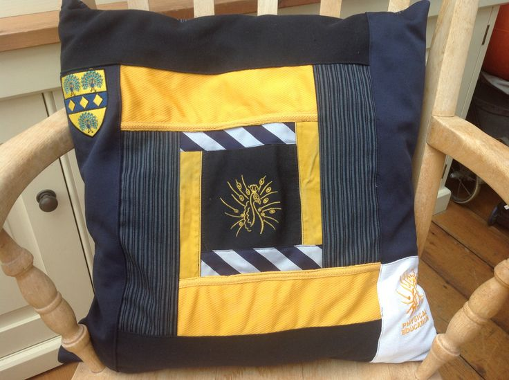 Craft project for a gift using school uniform to make a cushion cover