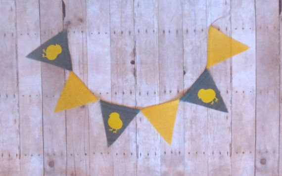 Easter burlap banner. Yellow and grey. Yellow and grey Easter banner burlap, chick, spring trend, photography prop, Easter photo prop. on Etsy, $12.00
