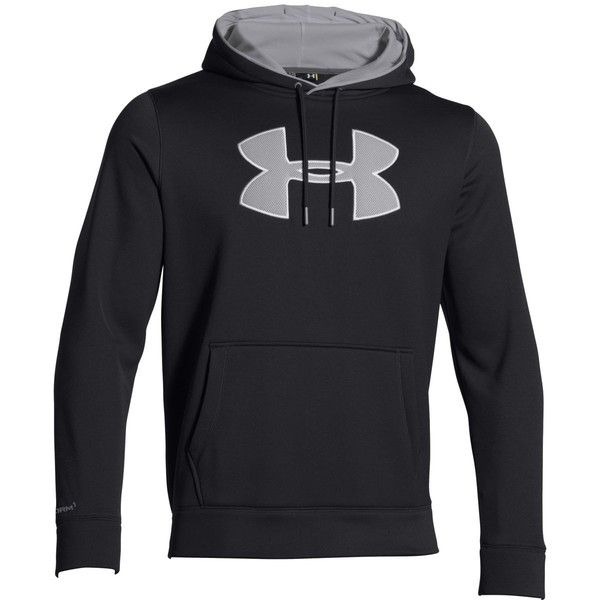 Under Armour Storm Armour Big Logo Fleece Pullover Hoodie ($55) ❤ liked on Polyvore featuring men's fashion, men's clothing and men's hoodies